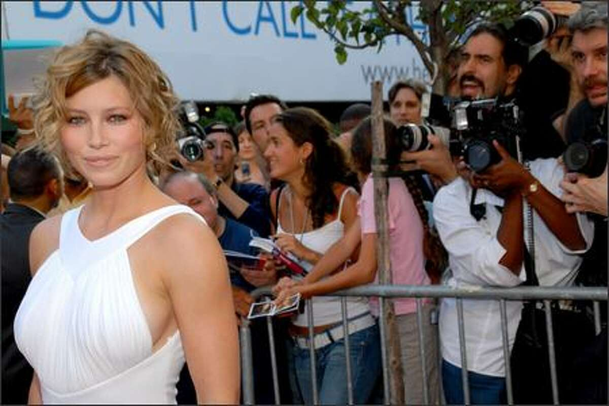"""Actress Jessica Biel attends the New York premiere of """"The Illusionist"""" on Tuesday. (AP Photo/Paul Hawthorne)"""