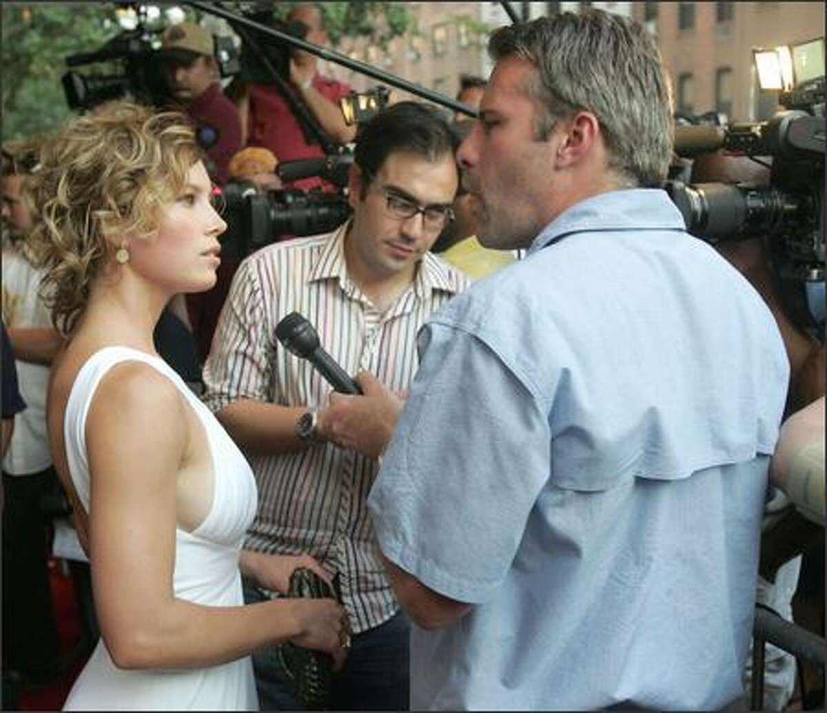 Actress Jessica Biel talks to reporters at the Yari Film Group's premiere of