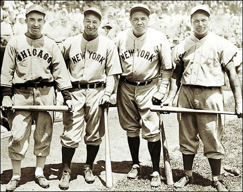 Though all would eventually land in the Hall of Fame, Al Simmons, Lou Gehrig, Babe Ruth and Jimmie Foxx (left to right) were rendered helpless by pitcher Carl Hubbell at the 1934 All-Star Game. Hubbell struck out five consecutive batters, an All-Star record.