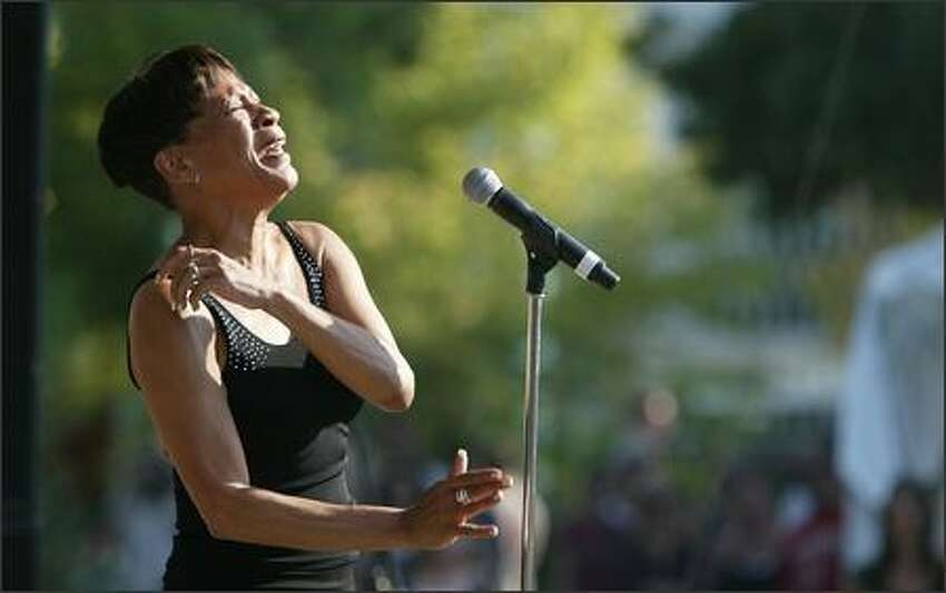 Bettye LaVette performs on the More Music Stage at the Mural Amphitheatre during Bumbershoot at Seattle Center on Monday.