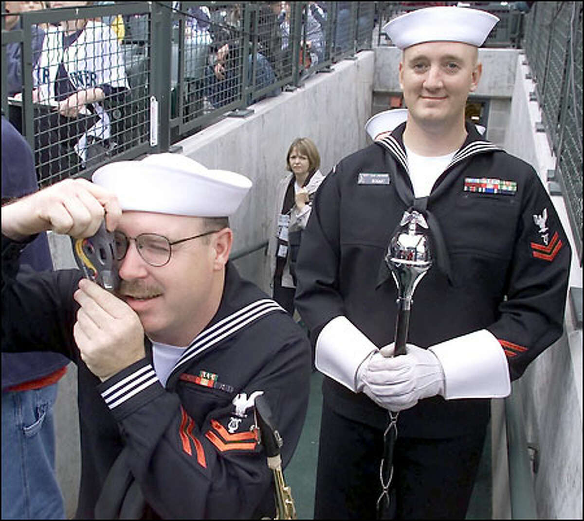 Navy Band Northwest members from Bangor sneak a peek at the Mariners.