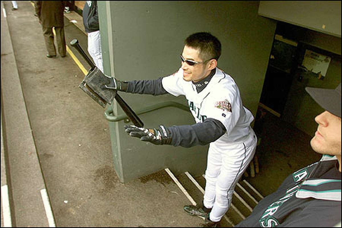 Ichiro in the dugout.
