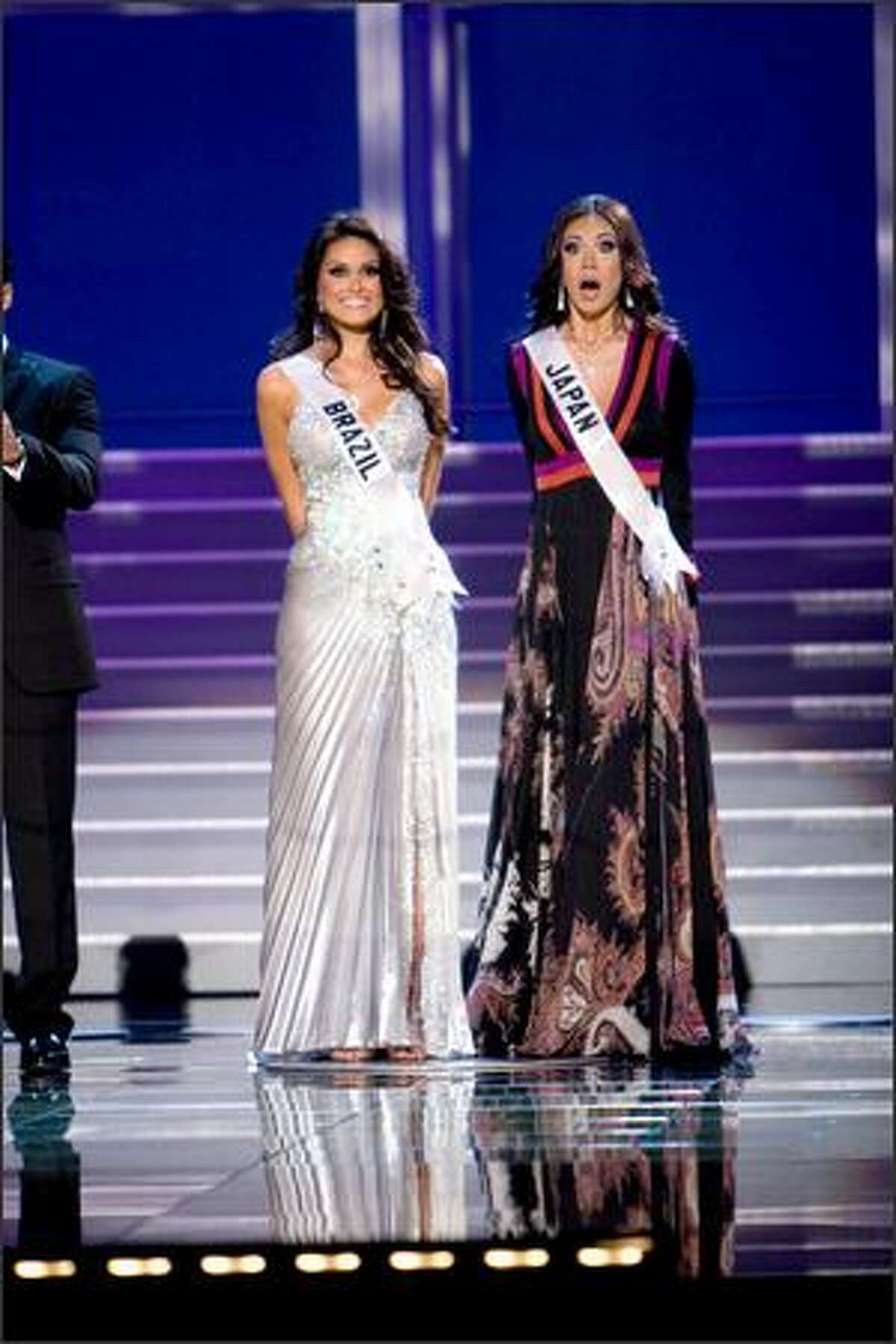 Miss Japan Riyo Mori, right, reacts as she is named Miss Universe 2007. First runner-up Natalia Guimaraes of Brazil is at left.