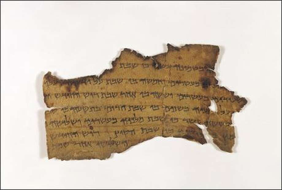 Parchment, Hebrew language Written 1st century B.C.E.This document provides a record of the Sabbaths, first days of the months, and the festivals of the Dead Sea sect by priestly division and according to the solar calendar. The Dead Sea sect used a solar calendar of 364 days in the year thus the sectarian calendars were six years long rather than one. The solar calendar stood against the more popular 354 day lunar calendar used in the Temple. This lunar model was victorious in the calendar wars of the period and is still the form used by normative Judaism to this very day. Photo: Courtesy Of The Israel Antiquities Authority