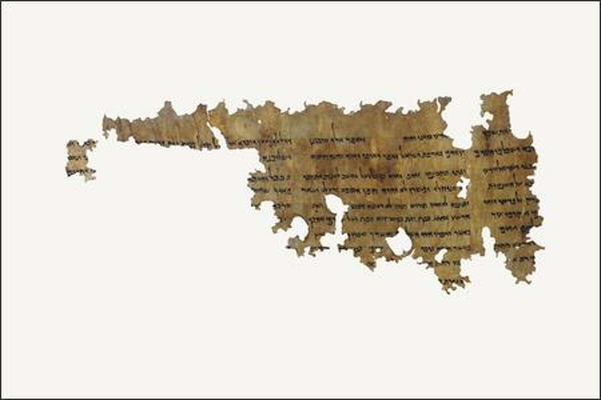 Parchment, Hebrew language Written 2nd century B.C.E. This manuscript is the best preserved copy of a previously unknown composition. A non-biblical vision about future events in Egypt relating to the people of Israel is revealed to Ezekiel. This text is open to much interpretation as the events and figures revealed are enigmatic.