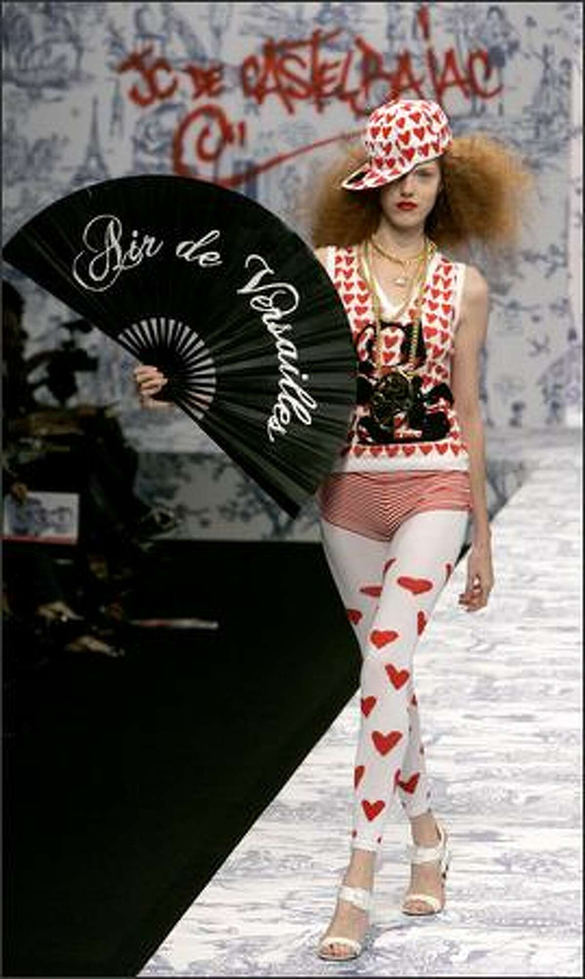 A model presents a creation designed by French fashion designer Jean-Charles de Castelbajac during the presentation of his Spring-summer 2007 ready-to-wear collection, Friday Oct. 6, 2006 in Paris. (AP Photo/Jacques Brinon)