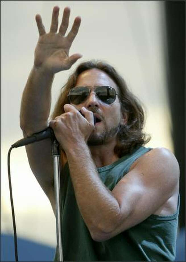Eddie Vedder belts one out at the Gorge. Photo: Grant M. Haller, Seattle Post-Intelligencer