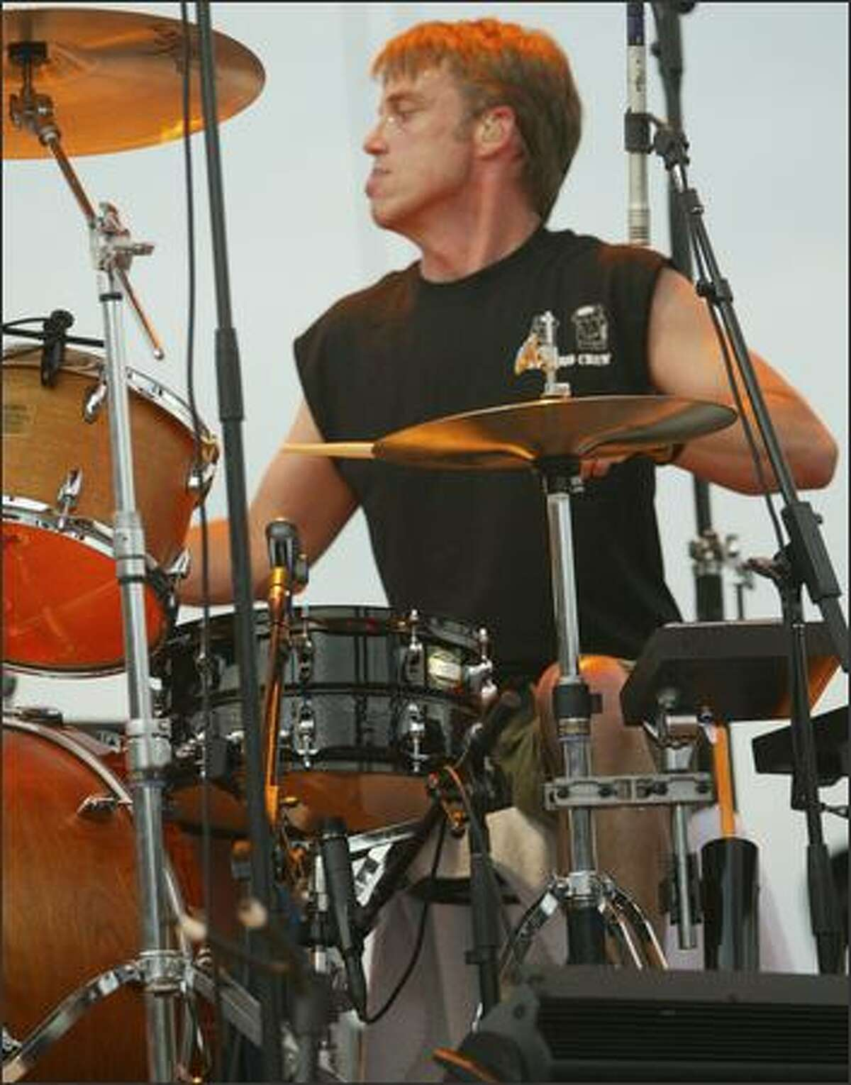 Drummer Matt Cameron is shown early in Pearl Jam's set at the Gorge.