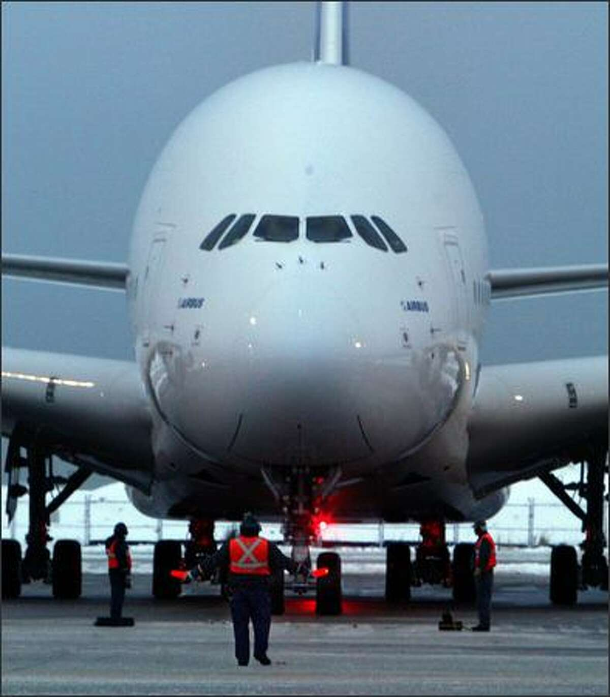 The A380 taxis after landing at Vancouver International Airport in British Columbia.