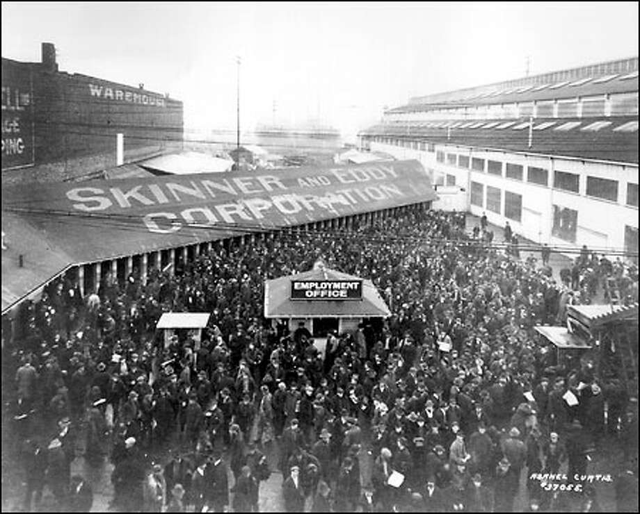 Seattle general strike, 1919: A crowd mills about the entrance of the Skinner and Eddy Shipbuilding Corp. on the central waterfront during what is acknowledged as the nation's first citywide general strike. It paralyzed the city for five days, beginning in the shipyards in January 1919 but spreading on Feb. 6, when 65,000 workers around the city walked off their jobs. Photo: Seattle Post-Intelligencer
