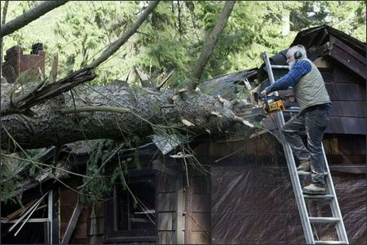 Gary Peterson was on hand to help neighbor Steve Owen remove the largest sections of a fallen Douglas fir tree from the roof of Owen's home on Vashon Island, Wash., Friday Dec. 15, 2006.