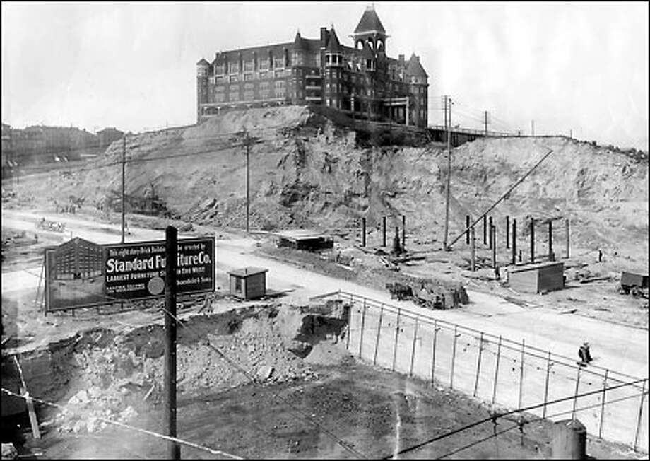 The Washington Hotel, 1906: From 1890 until 1906, the Washington Hotel stood on Third Avenue between Stewart and Virginia streets on the south summit of Denny Hill before it was leveled to make room for a growing city. Built as the Denny Hotel soon after the Seattle Fire, the hotel brought Victorian elegance to the city but eventually gave way to progress. Photo: Seattle Post-Intelligencer