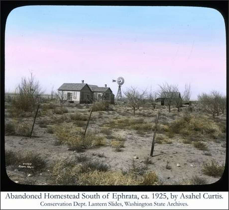 Abandoned homestead southwest of Euphrata, ca. 1925, Photo by Asahel Curtis. Conservation Dept. Lantern Slides, Washington State Archives.