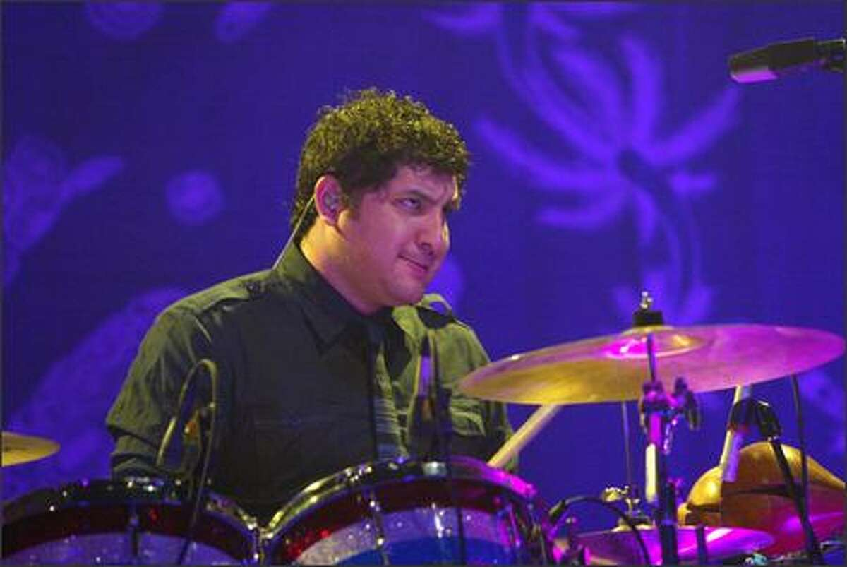 The Shins' drummer Jesse Sandoval performs at the Paramount Theatre.