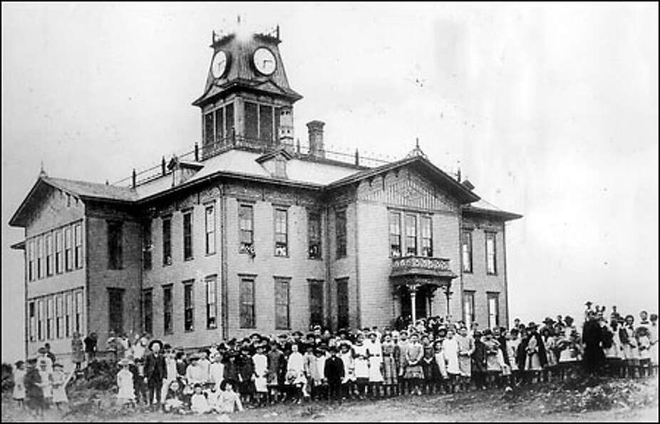 Seattle's first large school, mid-1880s: The Central School, which opened in 1883 at Seventh Avenu