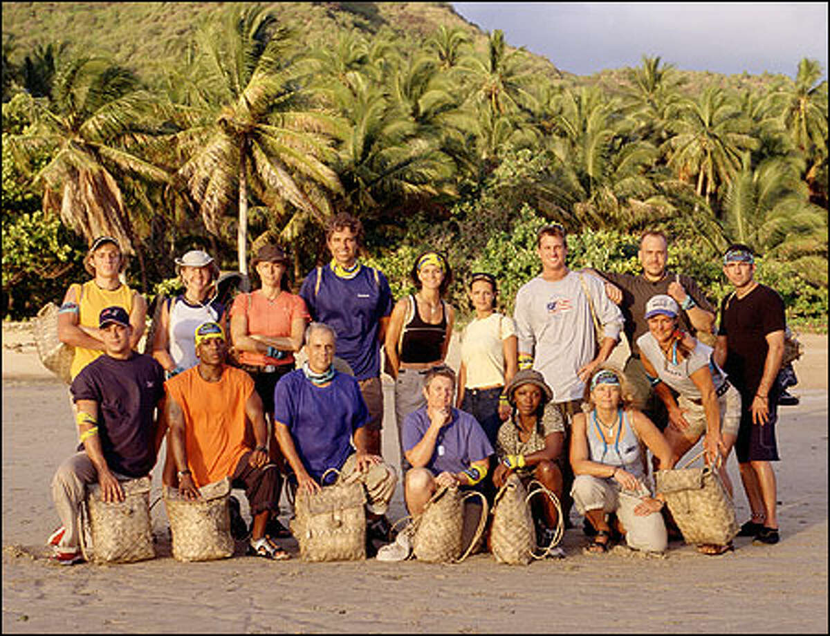 The castaways. Front row, from left: Rob Mariano, Sean Rector, Paschal English, Patricia Jackson, Vecepia Towery and Kathy Vavrick-O'Brien. Standing, from left: Gabriel Cade, Neleh Dennis, Tammy Leitner, Peter Harkey, Gina Crews, Sarah Jones, Hunter Ellis, Robert De Canio, John Carroll and Zoe Zanidakis.