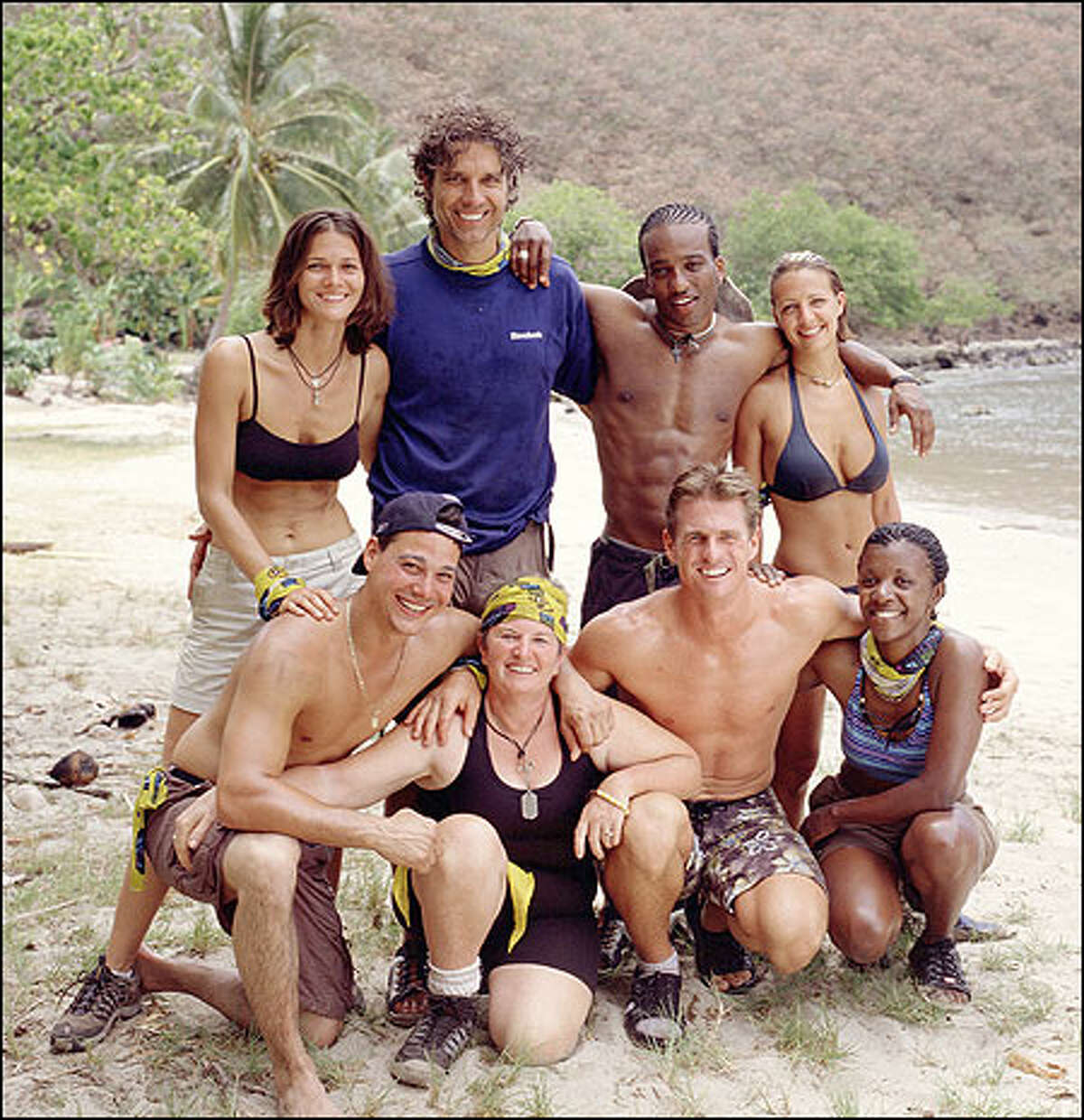 The Maraamu tribe. Front row, from left: Rob Mariano, Patricia Jackson, Hunter Ellis and Vecepia Towery. Standing, from left: Gina Crews, Peter Harkey, Sean Rector and Sarah Jones.