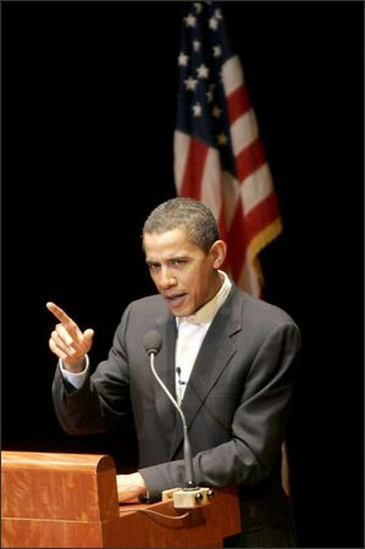 Sen. Barack Obama, D-Ill, makes a point in his Benaroya Hall speech.