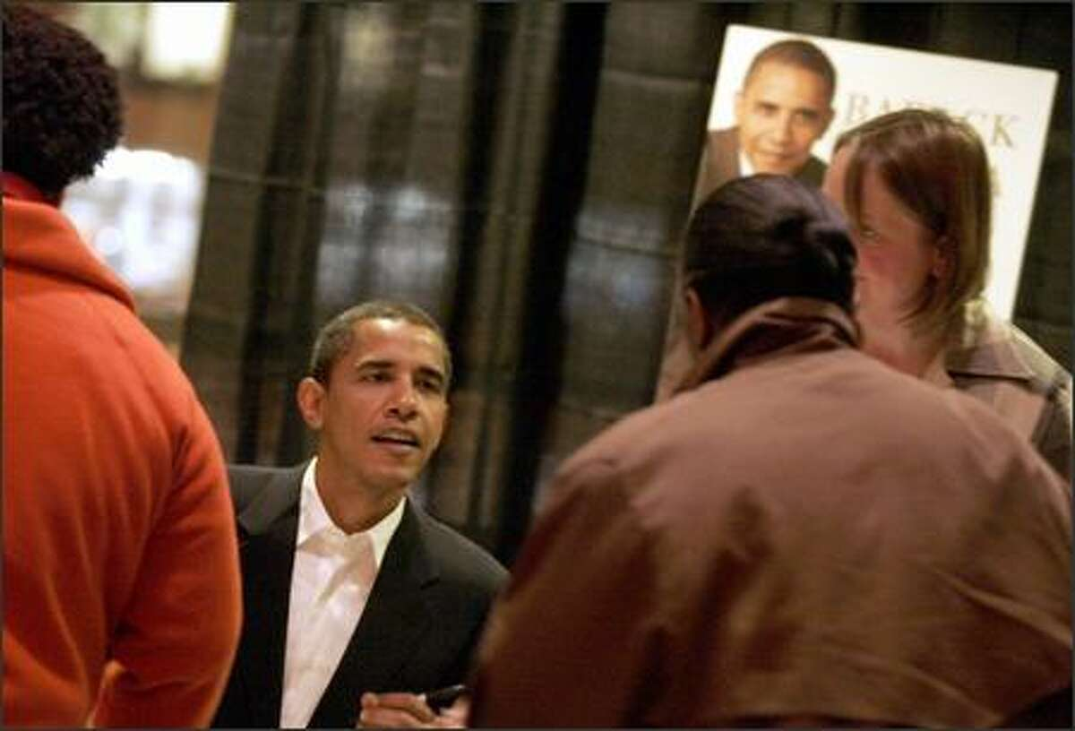 Sen. Barack Obama signs copies of his book