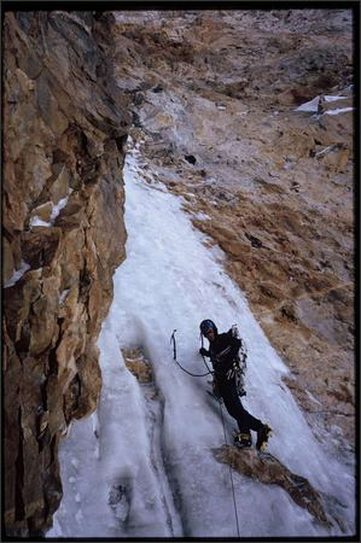 Kelly Cordes climbing the Marsigny-Parkin route on Cerro Torre. Patagonia, Argentina. Photo by Colin Haley.