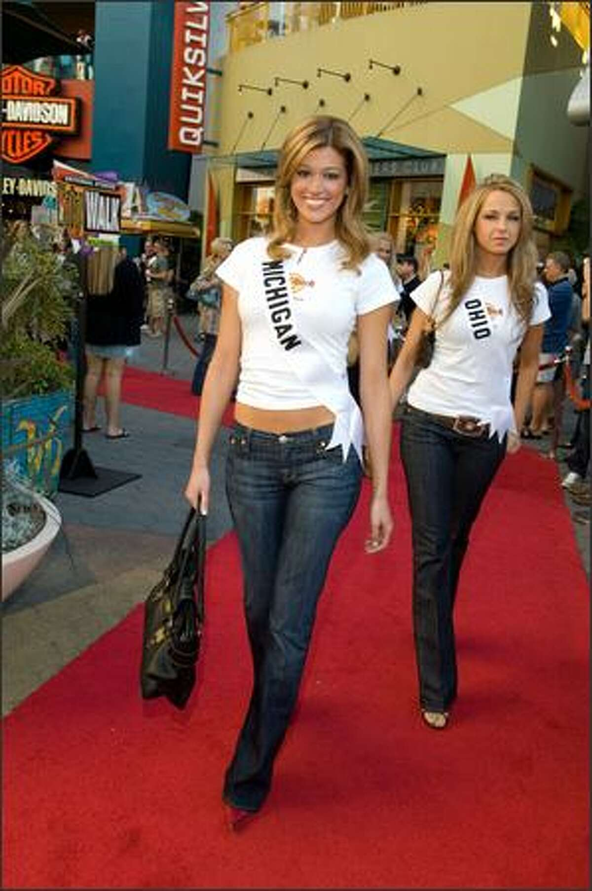 Kelly Best, Miss Michigan USA 2007, and Anna Melomud, Miss Ohio USA 2007, arrive at the Hard Rock Cafe in Universal City, Calif., on March 12.