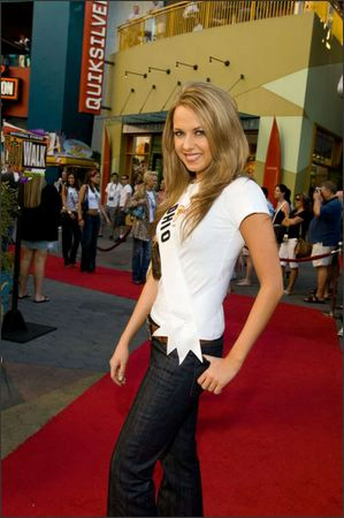 Anna Melomud, Miss Ohio USA 2007, walks the red carpet at the Hard Rock Cafe.