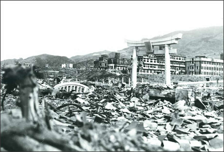 A look at Nagasaki, Japan, after the atomic bomb was dropped on the city Aug. 9, 1945. Photo: Jackie Johnston/Special To The Seattle Post-Intelligencer
