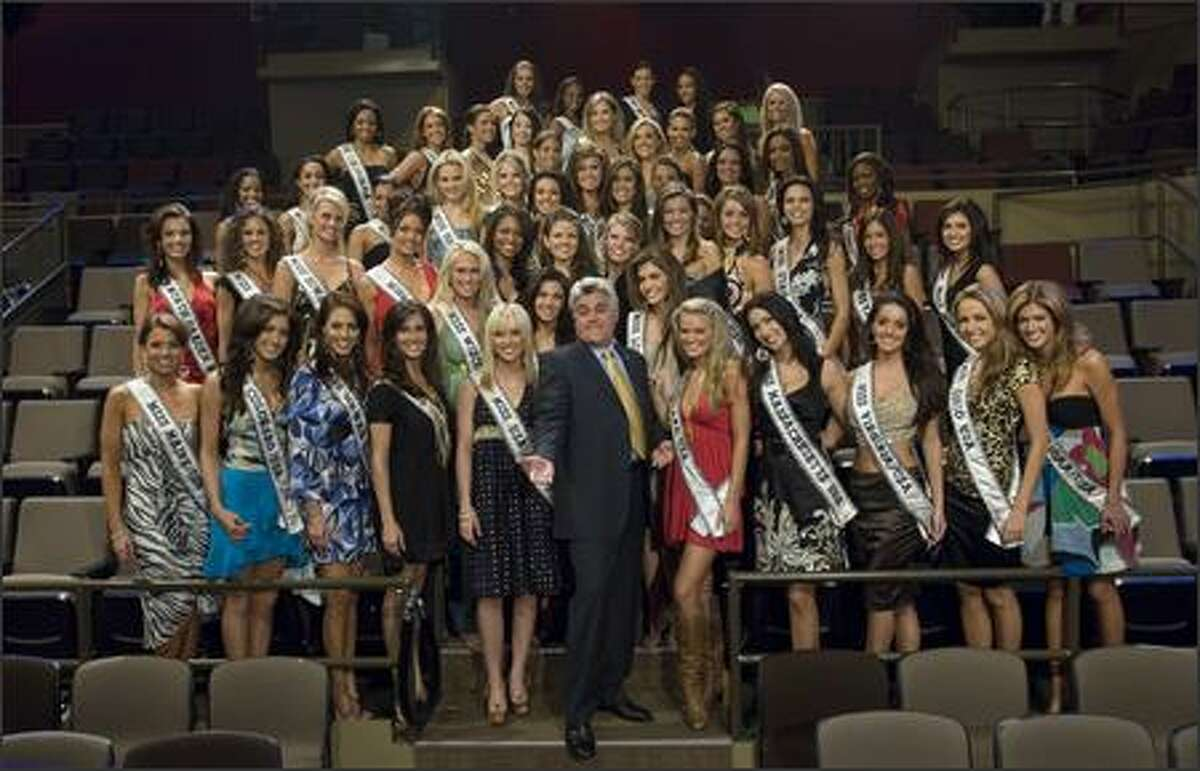 The 51 contestants for the 2007 Miss USA competition pose with Jay Leno after attending a taping of The Tonight Show on March 14 in Burbank, Calif.