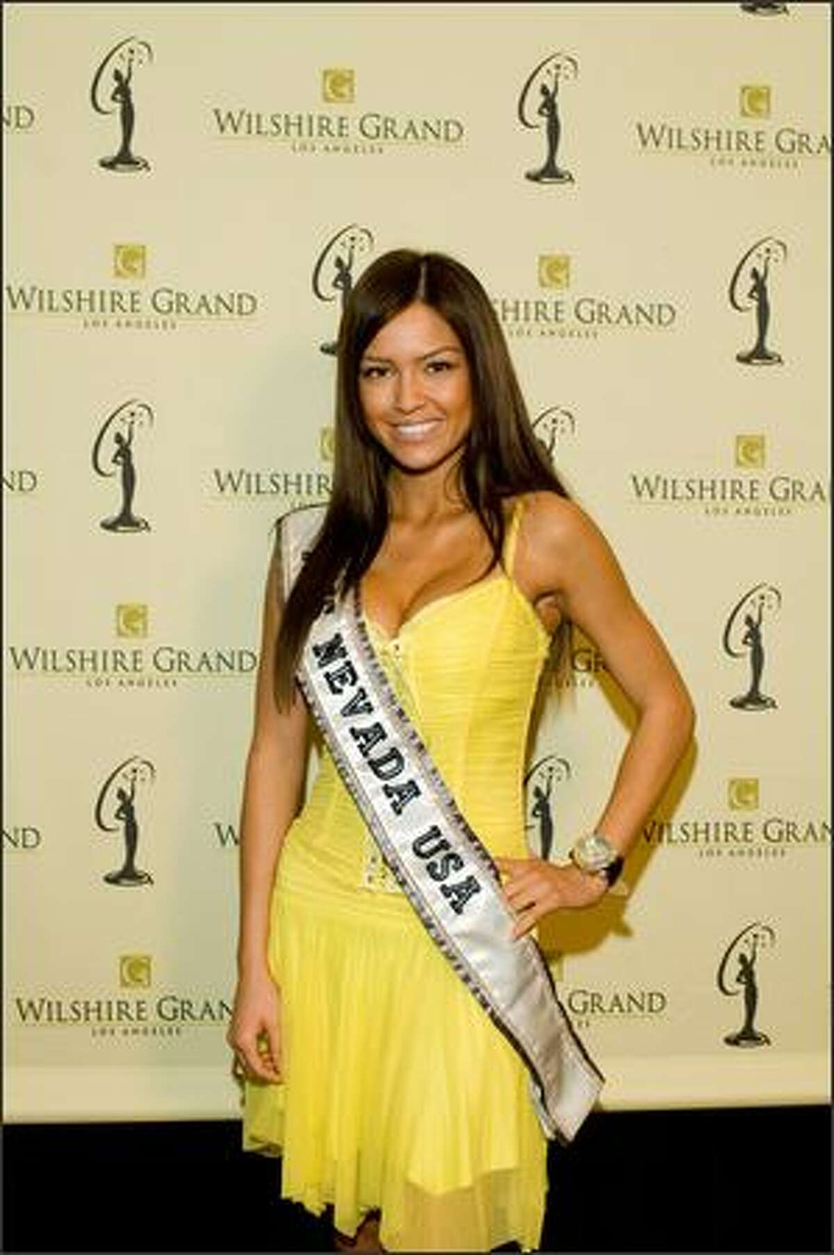 Helen Salas, Miss Nevada USA 2007, poses at the Wilshire Grand Hotel in Los Angeles on March 8 before registration and fittings for the Miss USA 2007 competition.