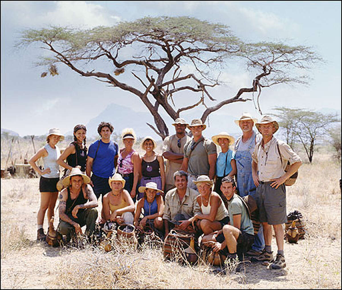 Survivor: Africa contestants, standing from left, Kelly Goldsmith, Jessie Camacho, Ethan Zohn, Diane Ogden, Linda Spender, Clarence Black, Silas Gaither, Teresa Cooper, Tom Buchanan, Frank Garrison, and, seated from left, Lex van den Berghe, Lindsey Richter, Kim Powers, Carl Bilancione, Kim Johnson and Brandon Quinton.