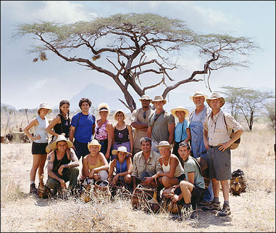 Survivor: Africa contestants, standing from left, Kelly Goldsmith, Jessie Camacho, Ethan Zohn, Diane Ogden, Linda Spender, Clarence Black, Silas Gaither, Teresa Cooper, Tom Buchanan, Frank Garrison, and, seated from left, Lex van den Berghe, Lindsey Richter, Kim Powers, Carl Bilancione, Kim Johnson and Brandon Quinton. Photo: Monty Brinton, CBS