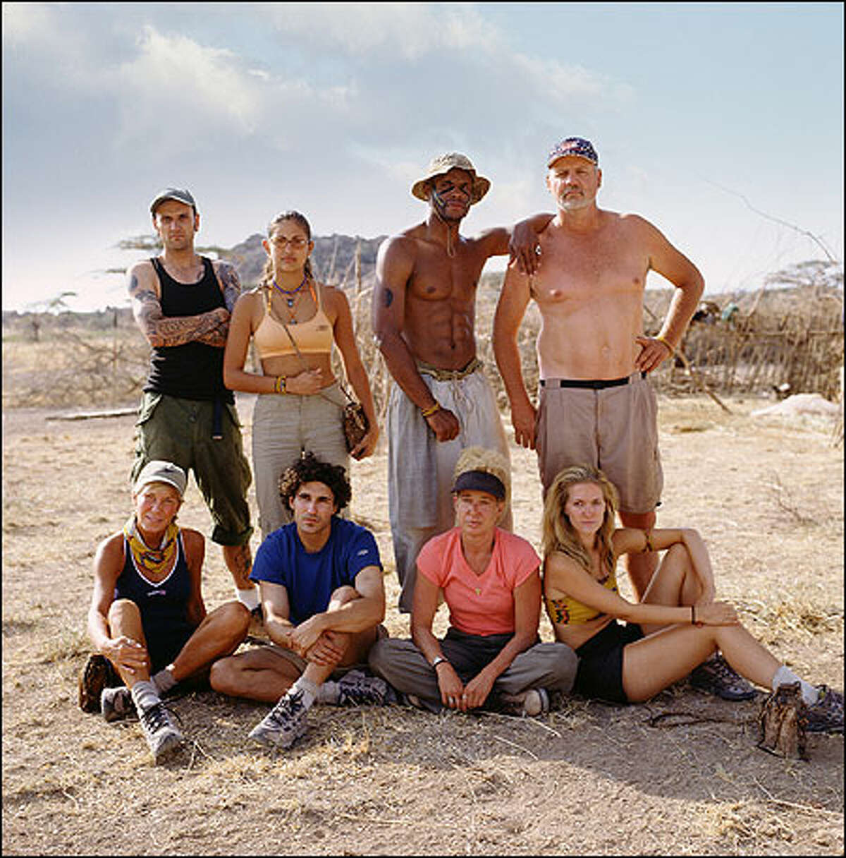 Members of the Boran tribe: AFRICA, seated from left, Kim Johnson, Ethan Zohn, Diane Ogden and Kelly Goldsmith, and, standing from left, Lex van den Berghe, Jessie Camacho, Clarence Black and Tom Buchanan.