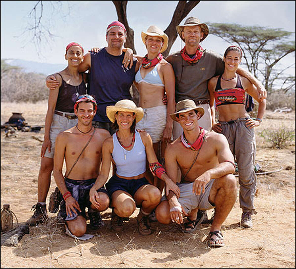 Members of the Samburu tribe: Kneeling from left, Brandon Quinton, Teresa Cooper and Silas Gaither, and, standing from left, Linda Spencer, Carl Bilancione, Lindsey Richter, Frank Garrison and Kim Powers.