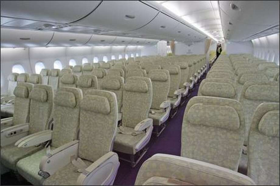 The cabin of an Airbus A380 at John F. Kennedy International Airport is seen on Monday, March 19, 2007, in New York. Airbus SAS's 555-seat, double-decker A380, the largest passenger plane ever built, made its U.S. debut today, with planes landing within 18 minutes of each other in New York and Los Angeles. Photo: Bloomberg News