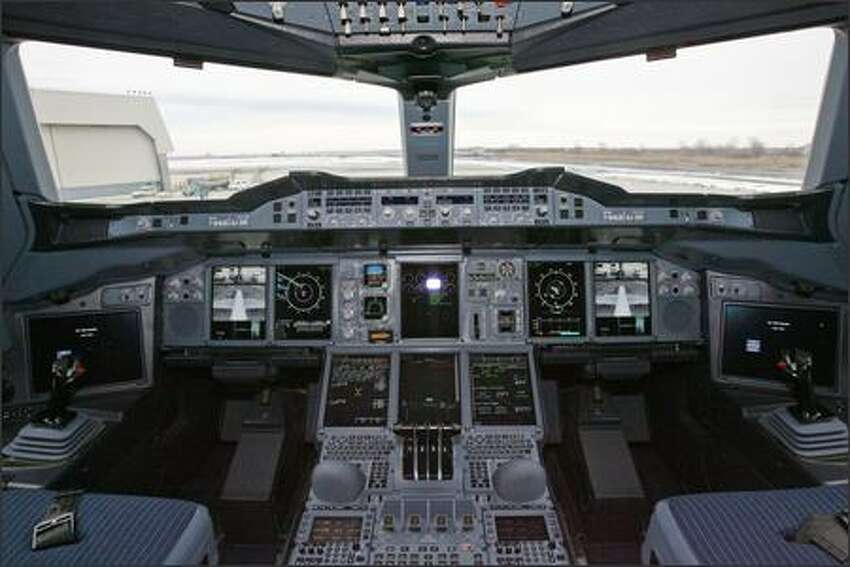 The cockpit of an Airbus A380 at John F. Kennedy International Airport is seen on Monday, March 19, 2007, in New York. Airbus SAS's 555-seat, double-decker A380, the largest passenger plane ever built, made its U.S. debut today, with planes landing within 18 minutes of each other in New York and Los Angeles.