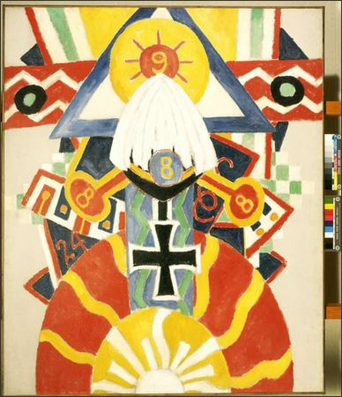 """""""Painting Number 49, Berlin, Portrait of a German Officer"""", abstraction medium oil on canvas. Dimensions 47 x 39 1/2 in. (119.4 x 100.3 cm) 1914-1915. By Marsden Hartley. (From the Barney A. Ebsworth Collection)"""