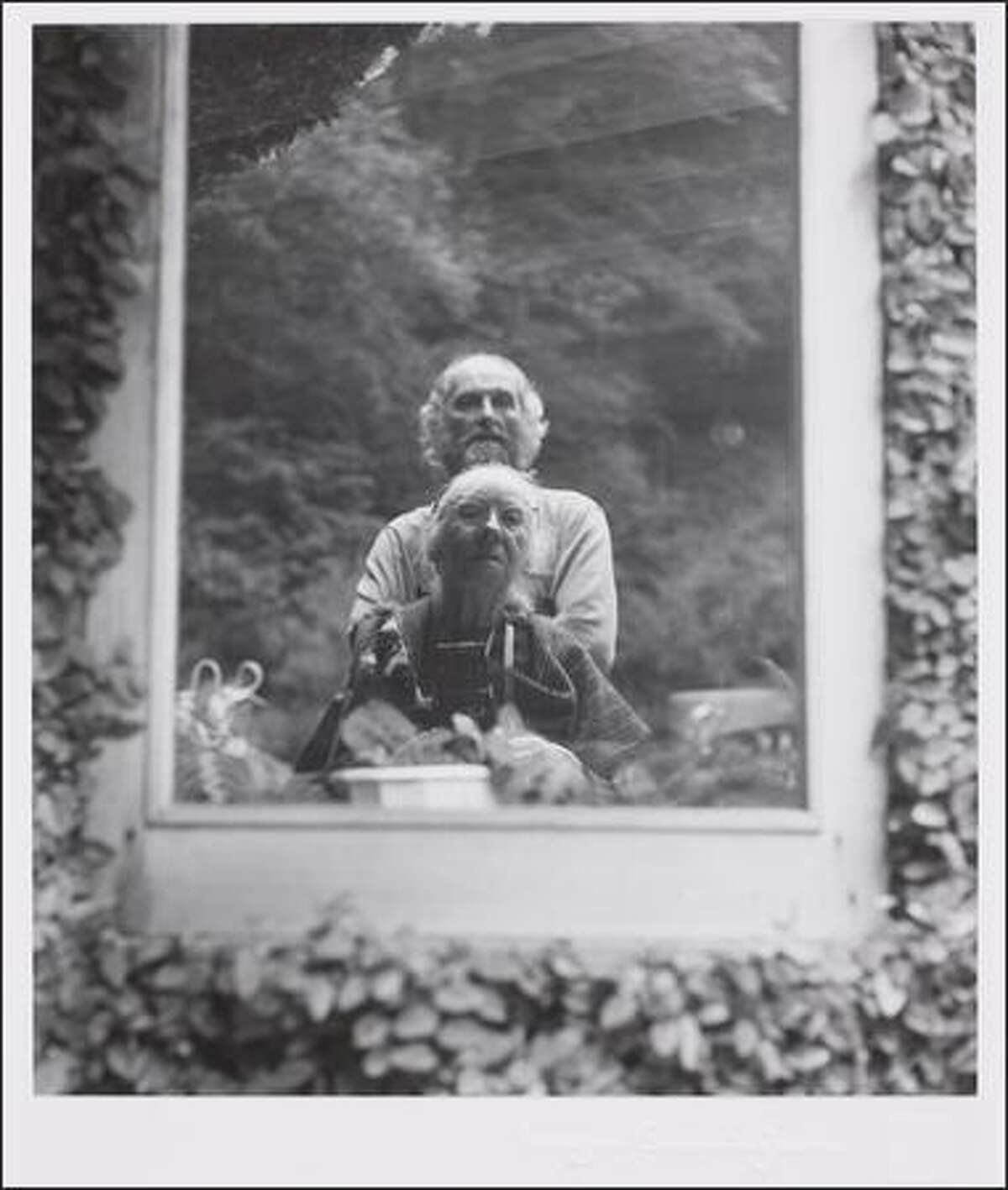 """""""Morris Graves and Imogen in his Garden"""", photograph, medium gelatin silver print Dimensions 8 3/8 x 7 3/8 in, 1973. By Imogen Cunningham. (From Marshall and Helen Hatch)"""
