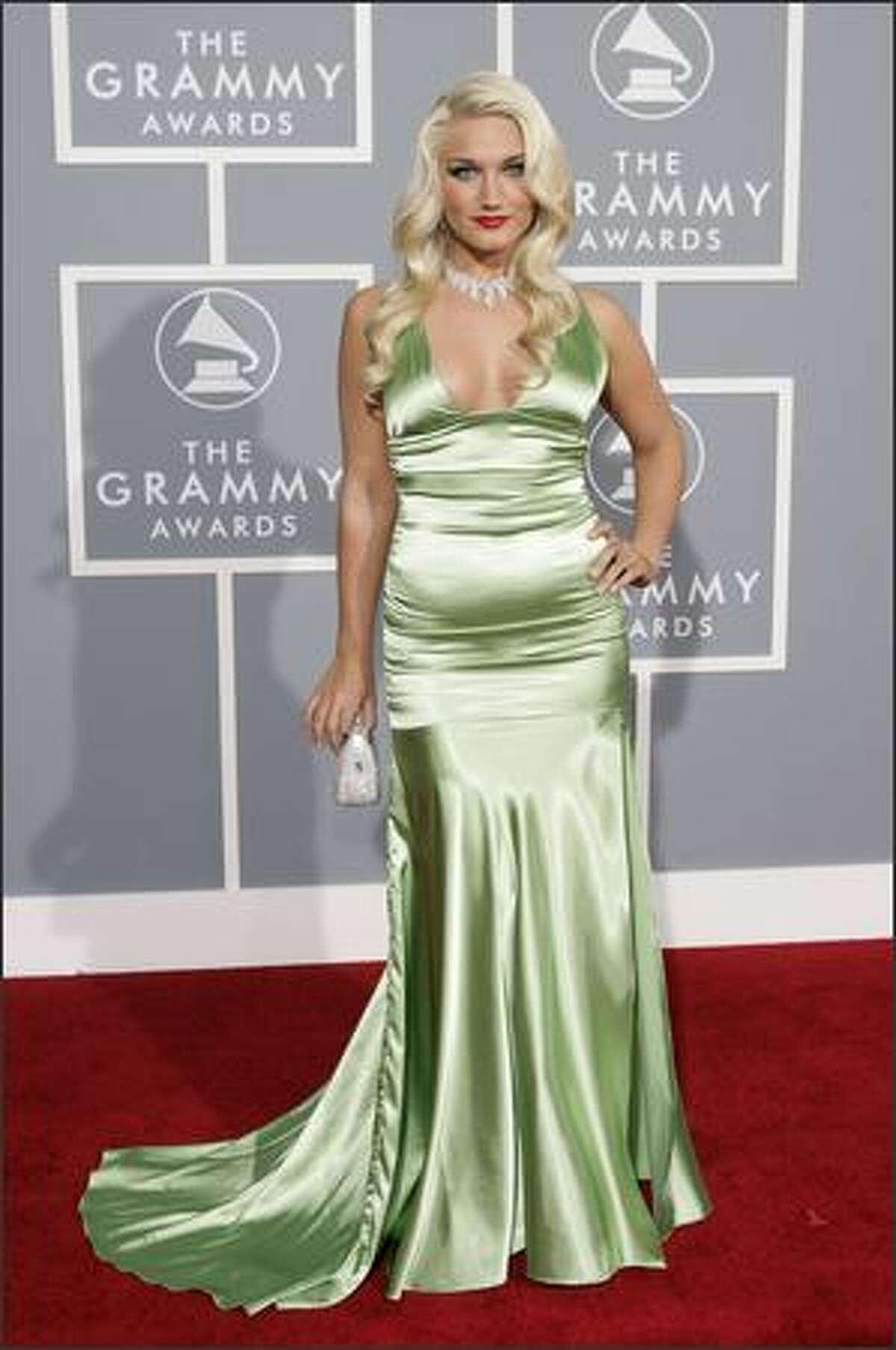 Brooke Hogan arrives for the 49th Annual Grammy Awards. (AP Photo/Matt Sayles)