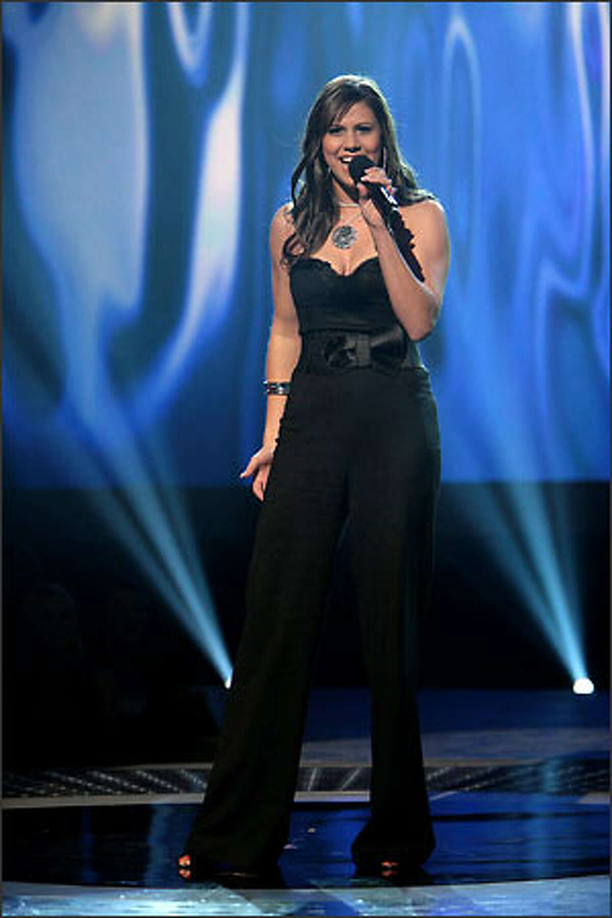 """Haley Scarnato performs in front of the judges on """"American Idol"""" Wednesday, Feb. 21, 2007."""