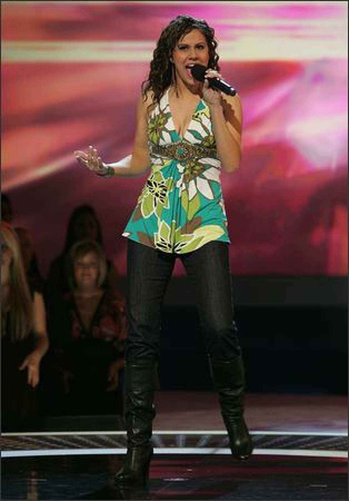 """Haley Scarnato performs in front of the judges on """"American Idol"""" Wednesday, Feb. 27, 2007."""