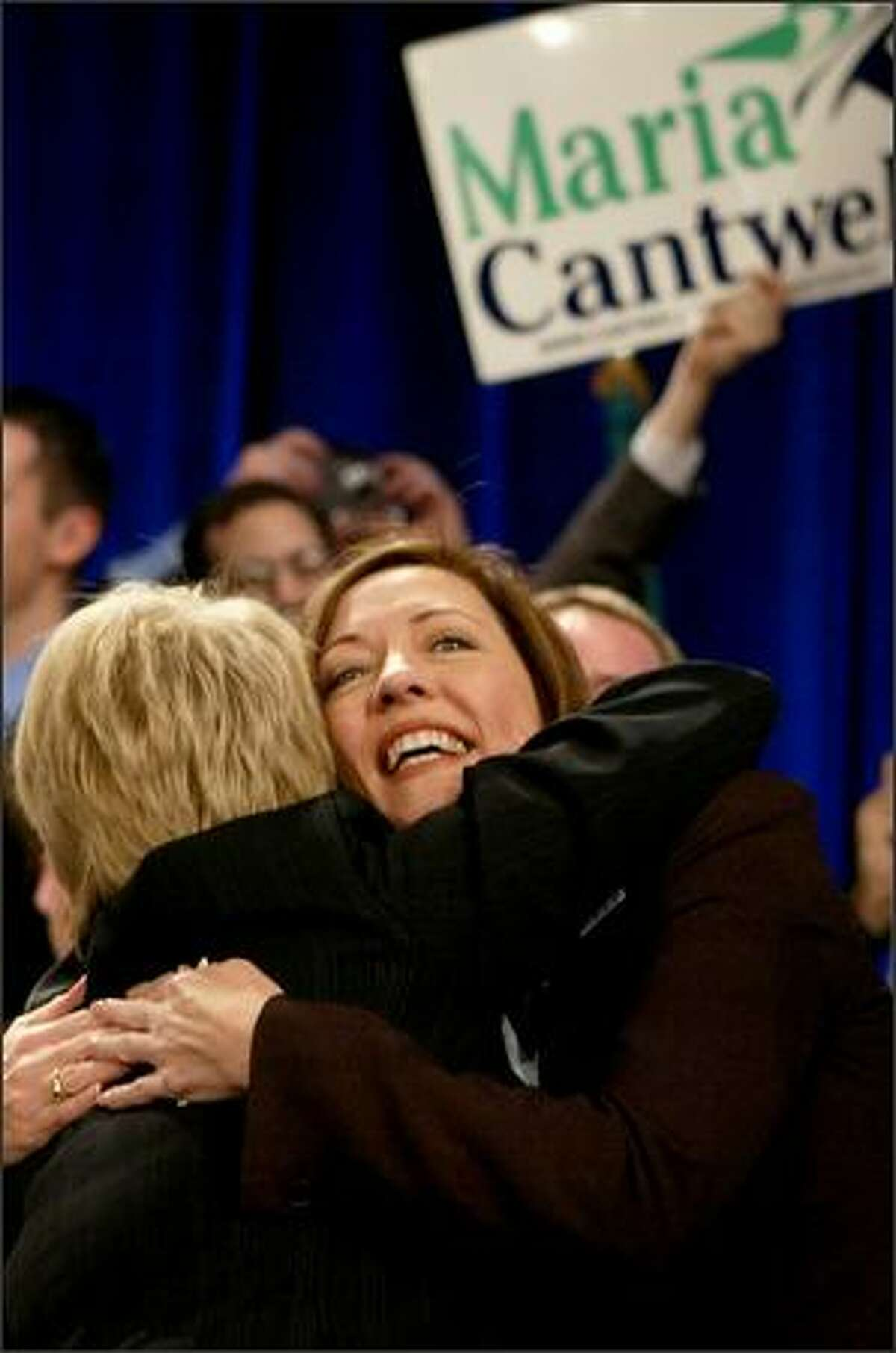Democratic Sen. Maria Cantwell, running for reelection against Mike McGavick, hugs U.S. Sen. Patty Murray during an election party on Tuesday at the Sheraton Hotel in Seattle.