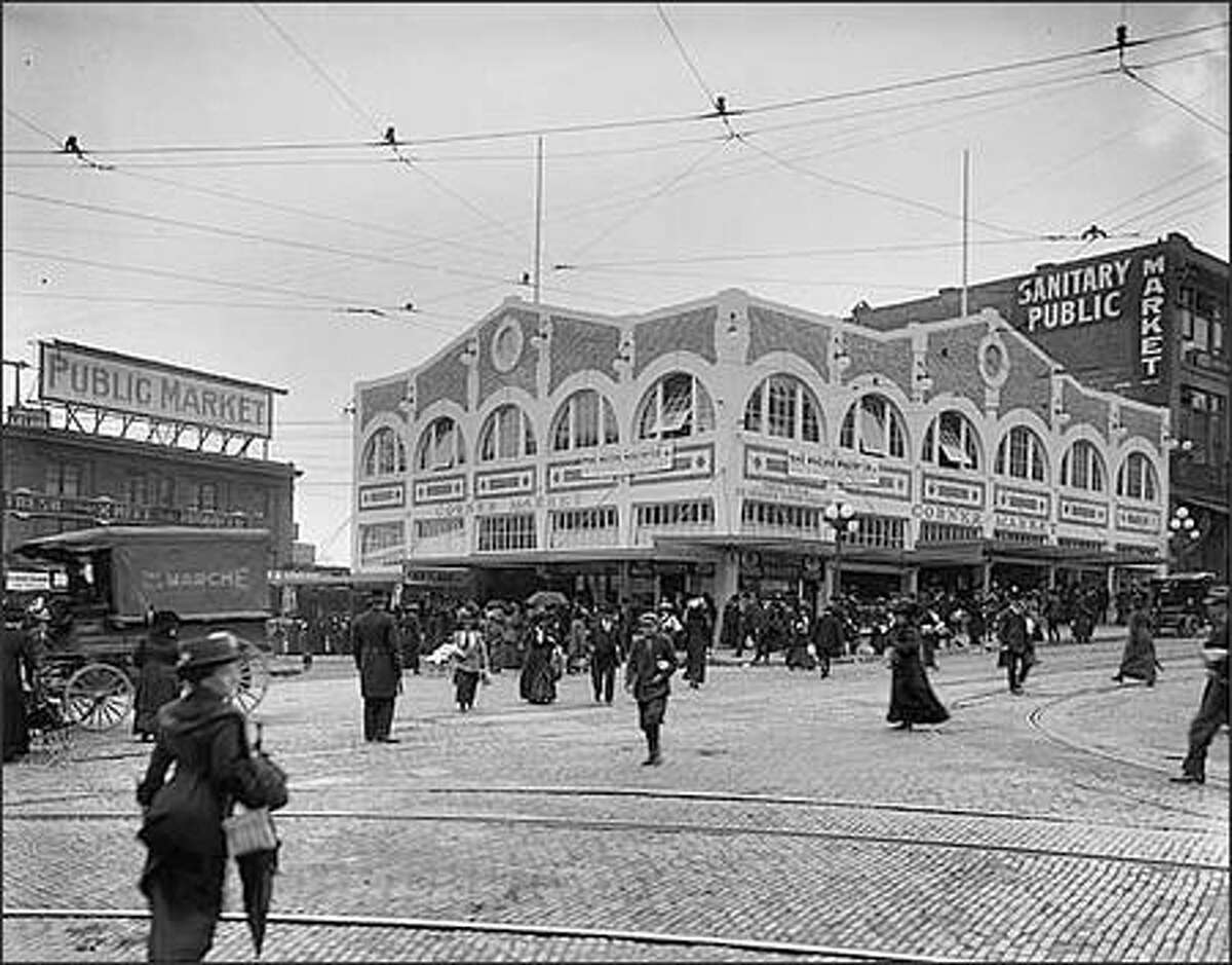 Seattle opened its public market at Pike Place in 1907 so that farmers could sell fresh eggs, dairy products, produce, and other things directly to city dwellers. The Corner Market was built in 1912 across the street at the corner of First Avenue and Pike Place.