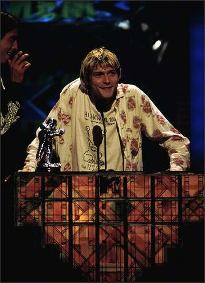 Kurt Cobain accepts his award at the 1992 MTV Video Music Awards. (Photo by Frank Micelotta/ImageDirect) Photo: Getty Images