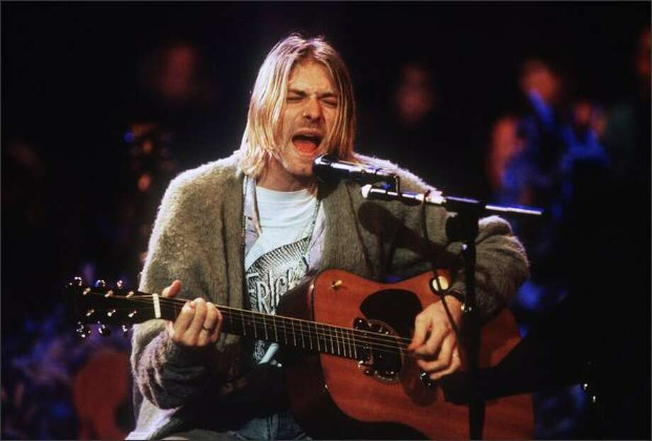 Kurt Cobain of Nirvana during the taping of MTV Unplugged at Sony Studios in New York City, November 18, 1993. Photo: Getty Images