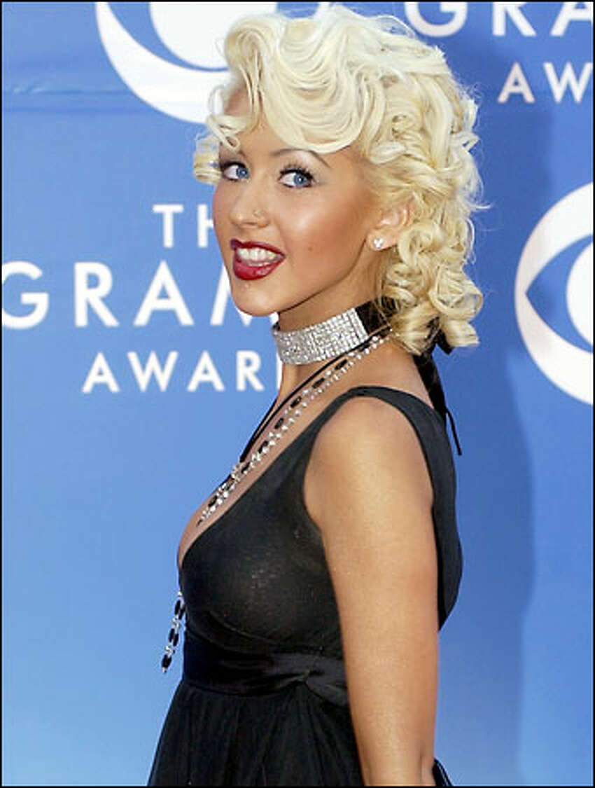 Grammy nominee Christina Aguilera arrives at the 44th annual Grammy Awards.