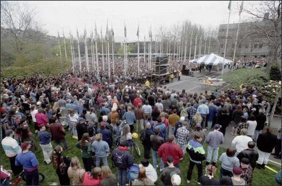 Thousands of fans gathered at Seattle Center on April 10, 1994 to mourn the death of Nirvana singer Kurt Cobain. A recorded message from Cobain's wife, Courtney Love, included parts of his suicide note. Photo: Grant M. Haller, Seattle Post-Intelligencer
