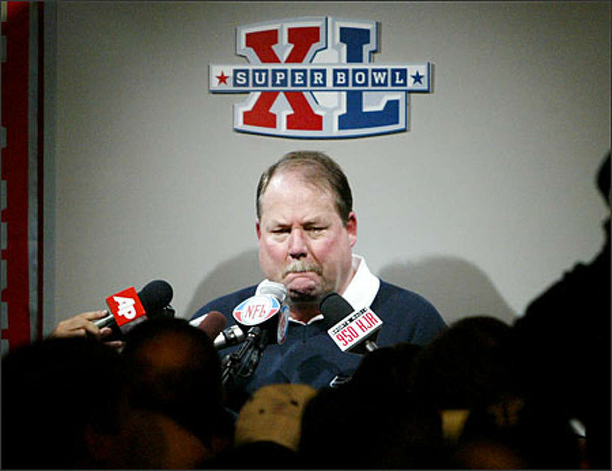 Seahawks coach Mike Holmgren appears to be emotional as he answers questions in the post-game interview after his team lost the Super Bowl.Eklund: From the high of Shaun Alexander running onto the field to the low of Mike Holmgren answering questions following the frustrating loss to Pittsburgh.