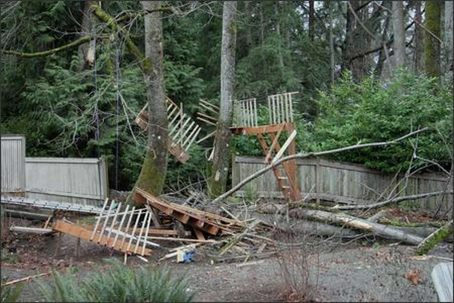 """It was only a treehouse, but..."" wrote reader photographer Rodney Tullett, Mercer Island, who submitted this photo Friday."