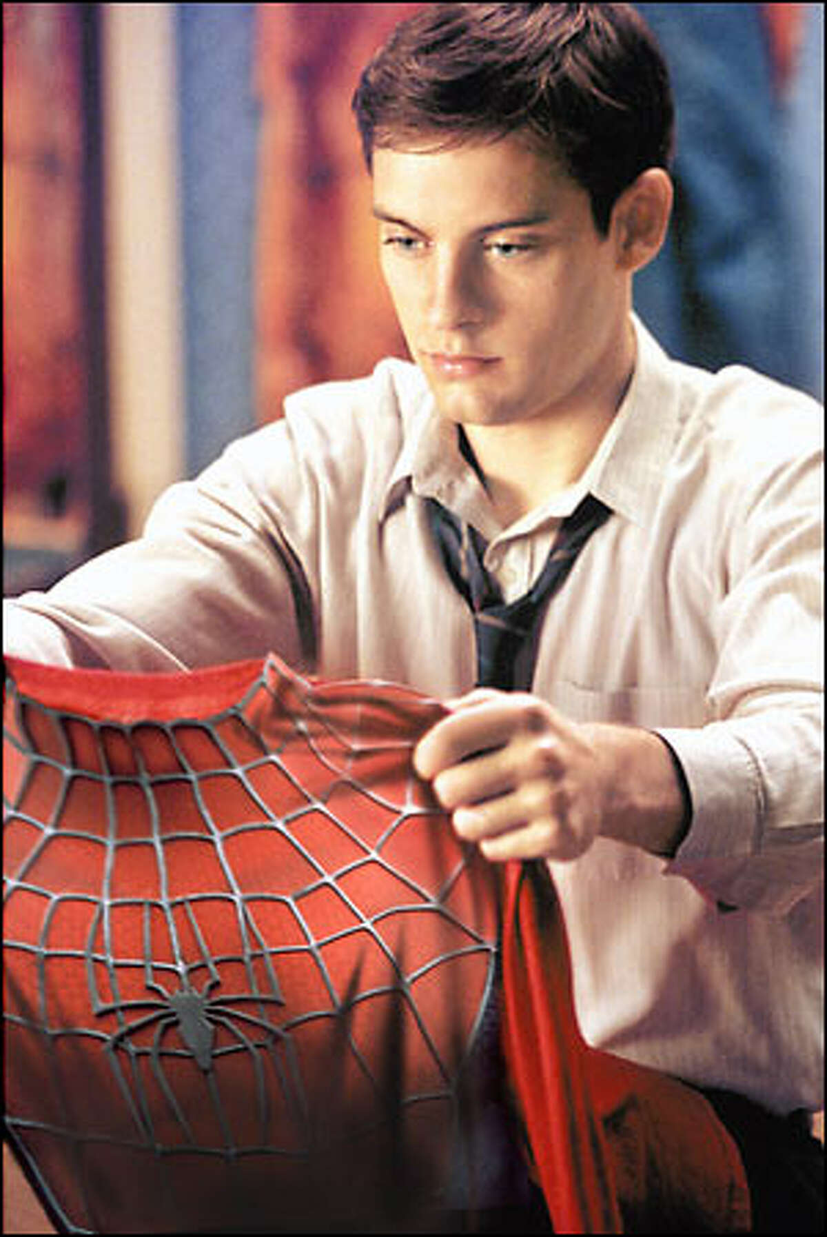 """""""With great power there must also come great responsibility,"""" as Peter Parker (Tobey Maguire) learns."""