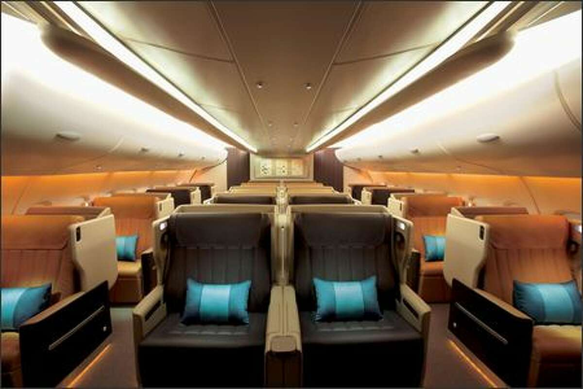 Business class cabin on Singapore Airlines 777-300ER.(Singapore Airlines photo)